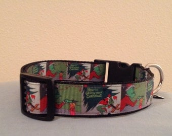 1 Inch Wide 13-21 Adjustable Grinch Pattern Grosgrain Dog Collar