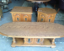 SOLD           Vintage Mid Century Maple Coffee Table with 2 End Tables