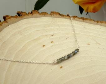 Labradorite Silver Beaded Bar Necklace