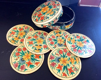 Vintage floral paper mache box with 6 velvet-backed coasters