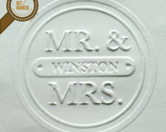 Mr. & Mrs.- Customized Wedding Embosser Stamp Template by Get Marked (ES0002)