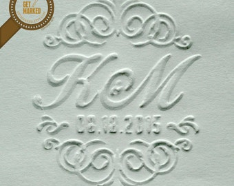 Victorian - Customized Wedding Embosser Stamp Template by Get Marked (ES0004)
