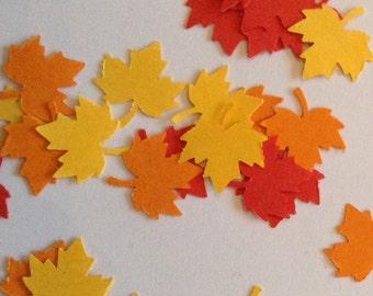 Mini fall leaf confetti, maple leaf punches, autumn leaves, set of 100, thanksgiving table decor