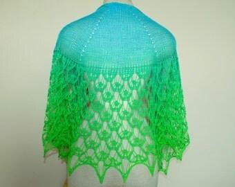 OOAK Handknit Gradient Lace Crescent Shawl