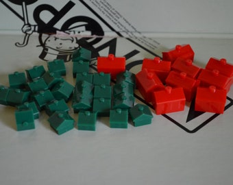 Monopoly Red Hotels and Green Houses: Original Game Pieces (35 Piece Set)