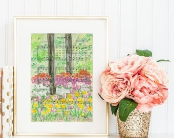 For the Beauty of the Earth - Hymn - Watercolor painting - Print & Cards