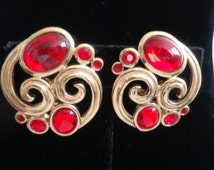 """Valentines Sale! TRIFARI HUGE Red and Goldtone Earrings with Clip-ons  Signed 1.5"""""""