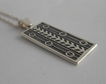 Sterling Silver Art Deco Necklace Bar necklace Made in Montana Art Deco Pendant Fine Jewelry Birthday Gift for Women