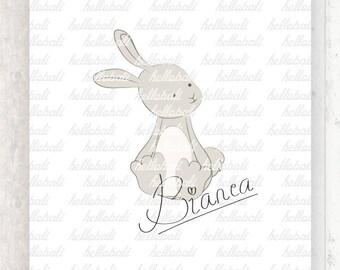 Cute Woodland Bunny Clip Art, Spring Illustration, Digital Illustration, Kawaii [Instant Download]