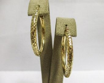 14K YELLOW Gold Textured Hoop Earrings, 1 1/8 inches in diameter