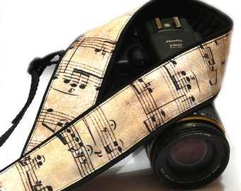 Music Camera Strap. Vintage Notes Camera Strap.  DSLR, SLR Camera Strap. Canon, Nikon Camera Strap. Women Accessories