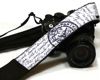 Postage Stamps Camera Strap. Vintage Scripts Camera Strap.  DSLR Camera Strap. Canon, Nikon Camera Strap. Electronics & Accessories