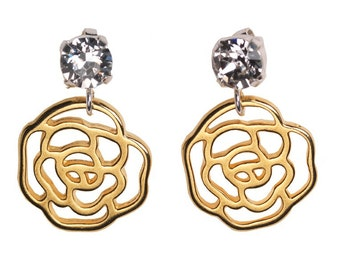 Silver & Golden Rose Earrings