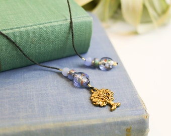 Cord Bookmark with Gold Tree Charm and Purple Beads