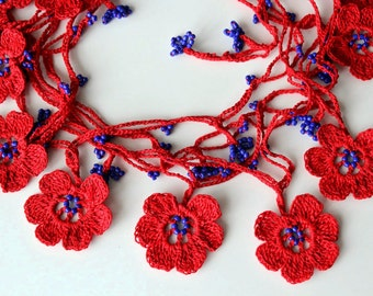 Red crochet necklace, Blue Bead Necklace, Beaded Crochet Necklace, Flower necklace, Valentine's gift, Valentine's Day