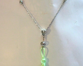 Bohemian necklace, green swirls and pompon cabochons