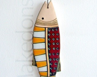 Fish - Original handmade ceramic art tile - Pottery