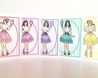 Candy Floss Girls Illustrated Greeting Cards - Individual or Pack of 5