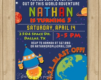 Space Invitation, Space Birthday Invitation, Rocket Invitation, Outer Pace Invitation, Planet Invitation