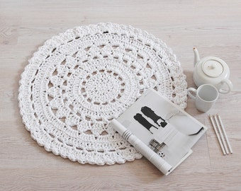 Doily Crochet Rug NUULO / Boho Area Rug / Chunky Crochet Carpet / Shabby Chic / Cottage Style - White