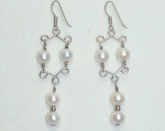 Handmade Pearl with Silver Wire Earrings