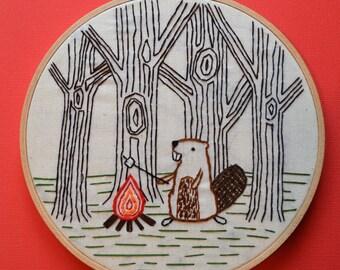 Beaver Embroidery Hoop