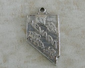Nevada State Map Double Sided Silver Plated Travel Bracelet Charm