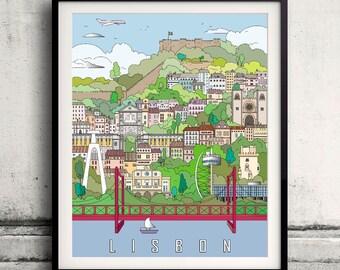 Lisbon City Poster - Fine Art Print Landmarks skyline Poster Gift Illustration Artistic Colorful Landmarks - SKU 1930
