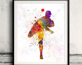 Baseball player throwing a ball 02 - poster watercolor wall art gift splatter sport baseball illustration print Glicée artistic - SKU 0529