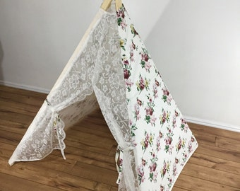 Floral Lace kids teepee play tent