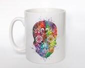 Sugar Skull Mug Kids Mug Milk Cup Watercolor Art Cup Coffee Mug Sugar Skull Cup Tea Mug Birthday Gift Coffee Cup Skull Children's Mug