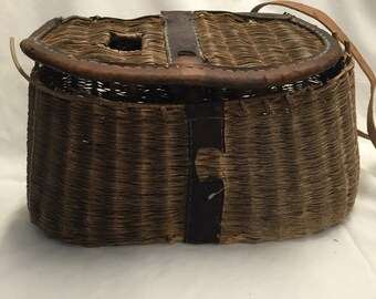 Vintage Creed Wicker Tackle Basket