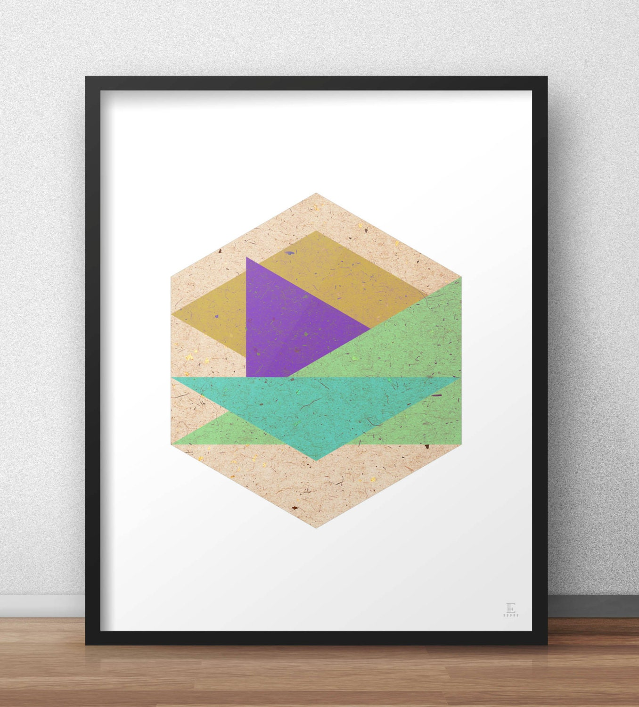 Wall Decor Hexagon : Hexagon print geometric wall art triangles and rhombus