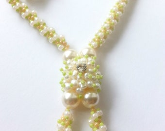 Sterling silver set with swarovski pearls, culture pearls, toho beads