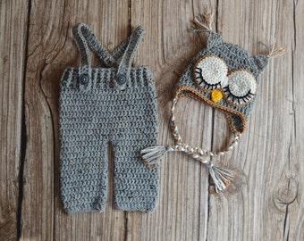 Crochet Baby Set- Owl Newborn Set - Great Baby Shower Gift - Photo session - Photo Prop - Crochet Owl Set