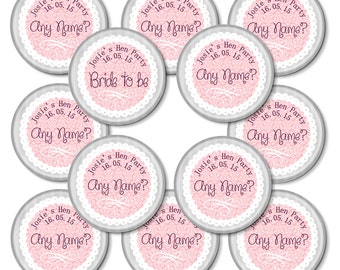 Set of 12 + Vintage Frill Personalised Hen Party Badges - 50mm