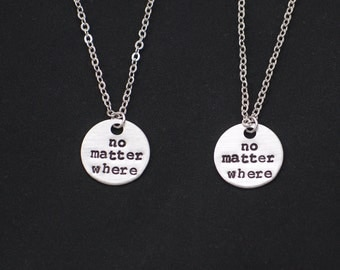 2 best friends necklaces, sterling silver filled, no matter where necklace set of two,bff necklace,mother daughter,friendship jewelry, gift