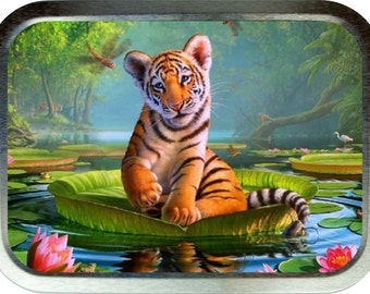 Tiger Lily design 2oz silver tobacco tin,pill box,storage tin