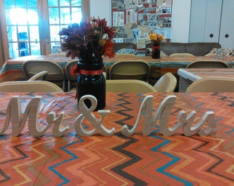 6 1/2'' high.Mr. and Mrs. sign, sweetheart table sign, wood sign, unpainted sign