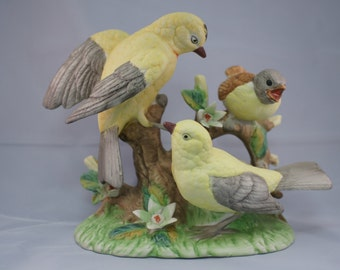 Unmarked Yellow and Gray Bird Family Figurine