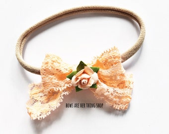RTS Little Darling lace rose bow