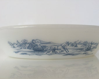 Vintage Glasbake Currier & Ives Divided Casserole Dish (2 available)