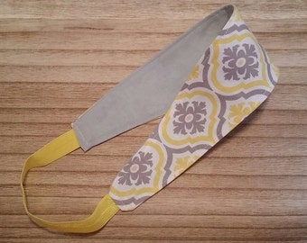 Gray & Yellow Damask Reversible Headband