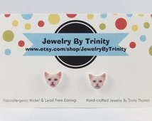 White Cat Kitten Stud Post Earrings Jewelry Funny Cat Accessories Blue Eyed Cat Gift For Cat Lovers