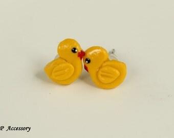 Miniature Duckling Earrings, earrings clay, clay duck stud, clay earrings, yellow earrings