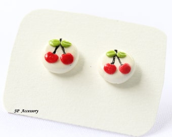 Miniature Cherry Earrings, red clay stud, earrings clay, clay stud, fancy clay stud, cheery earrings
