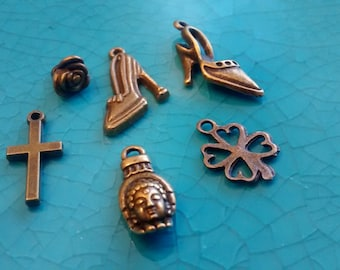 6 assorted bronze plated charms shoes cross rose clover hand pendants DIY bracelets earrings necklaces jewellery making charms
