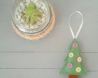 Christmas Tree Felt Bauble with Button Detail