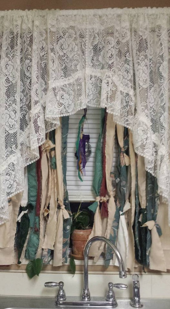 Boho Rag Curtains With Beads Hippie Style By
