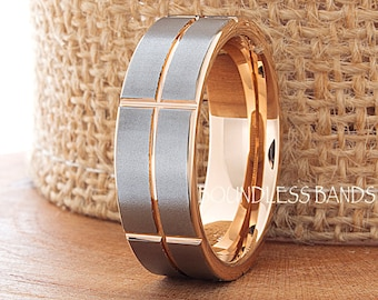 Tungsten Wedding Band 7mm Brushed Rose Gold Plated Anniversary Ring Promise Ring His Hers Two Tone Tungsten Band Free Engraving Comfort Fit